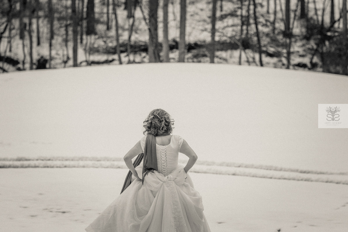 -SNOWY BRIDE- Krista and I exploring in the snow and taking some pics in her beautiful wedding dress! It began to snow, I called her up, and then we went on our way. This is what i captured. (CLICK TO ENLARGE)