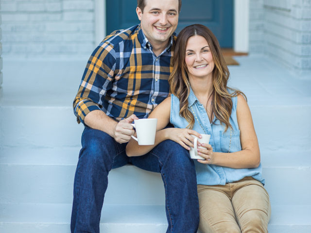 David & Kristen  —–  Loving each other around the house and celebrating being engaged!