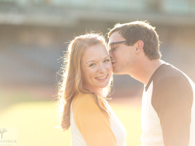 Dave and Shannon are engaged, and its beautiful!! Baseball vibes—Knight Stadium—